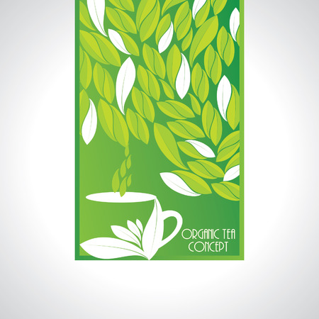 coffee leaf: green background with leaf with coffee cup