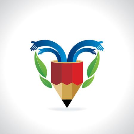 creative pencil with hands and green leaf Ilustração