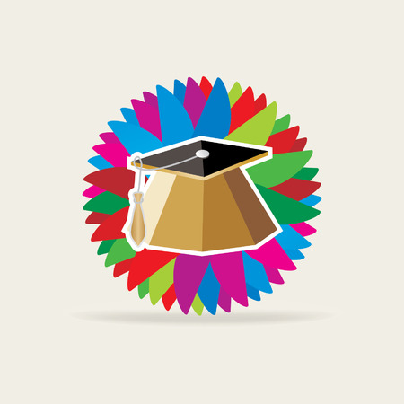 higher quality: education cap over colorful background Illustration