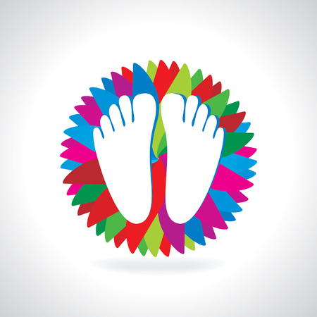 creative foot with care concept colorful background