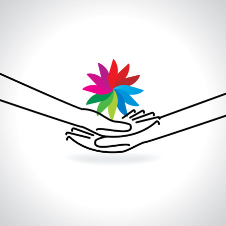 worldrn: caring concept with hand and colorful abstract Illustration