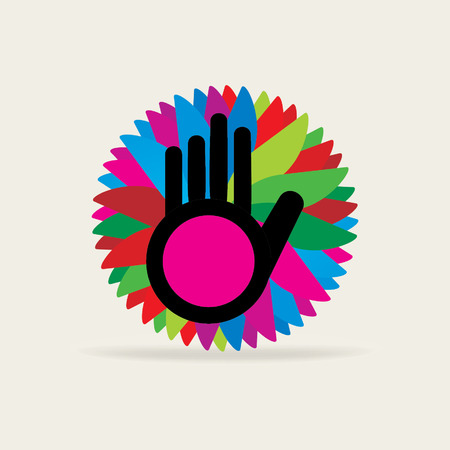 creative hand over colorful background Illustration