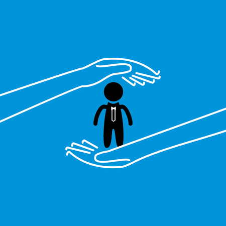 peoples: peoples care by hand concept Illustration