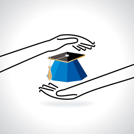 caring hands: education cap caring by hands concept