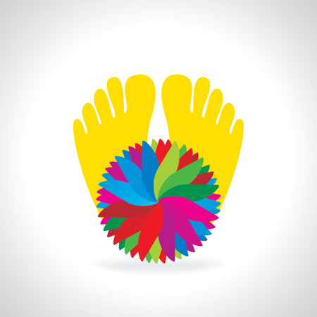 childishly: creative foot with care concept behind color background Illustration