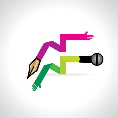 journalistic: lampadina colorata con microfono e penna - concetto di media Vettoriali