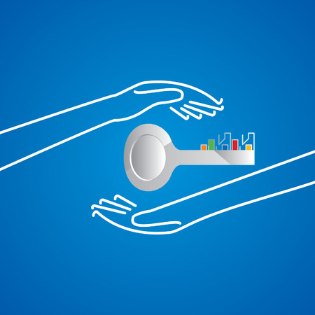 caring hands: house key caring by hands concept Illustration