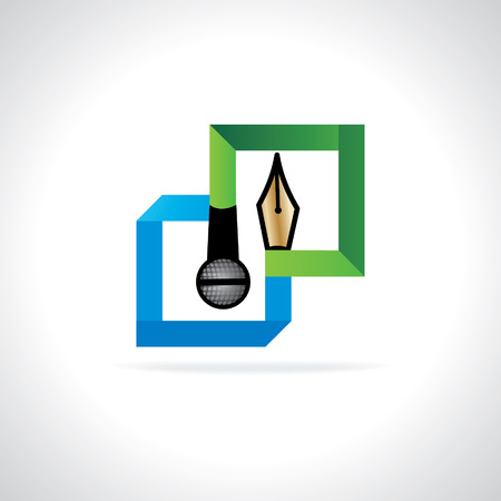 journalistic: colorful bulb with mic and pen - media concept