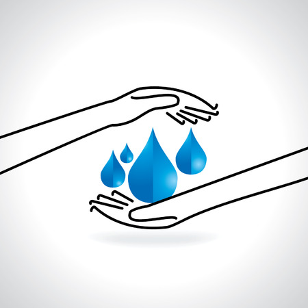 worldrn: save water concept with hand illustration