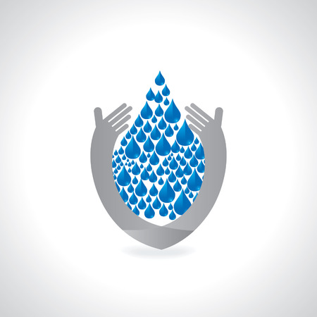 recycling campaign: save water concept with hand illustration