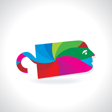colorful tag with face concept Vector
