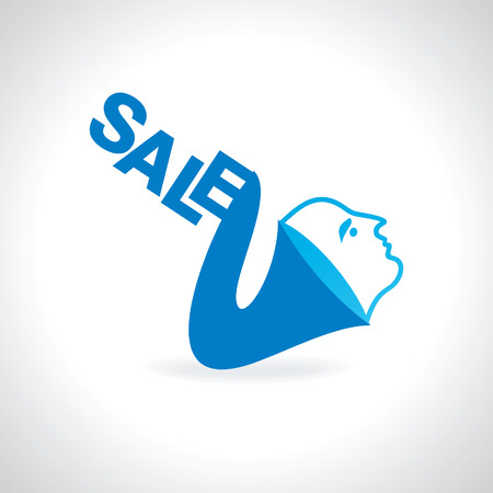 sale concept with lady face connect music equipment Vector