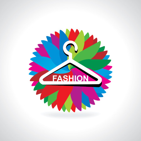 hanger with fashion over colorful abstract Vector