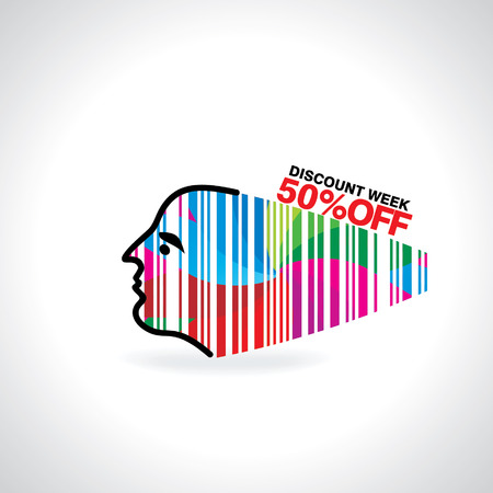 lady face connected with bar code discount Vector