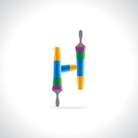 painting brush: creative painting brush making alphabet H