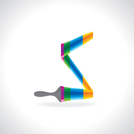 painting brush: creative painting brush making alphabet S Illustration
