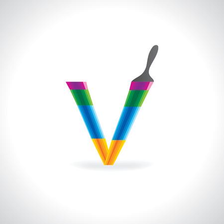 painting brush: creative painting brush making alphabet V Illustration
