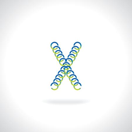 liquid x: alphabet X created by blue green circle