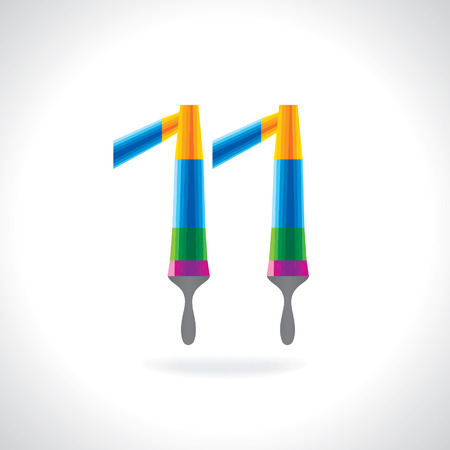 number 11: numeric number of 11 created by painting brush