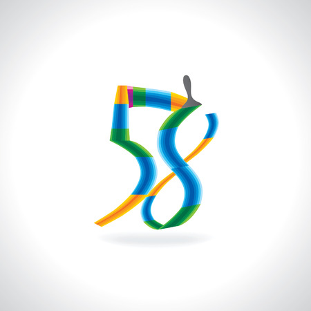painting brush: numeric number of 58 created by painting brush Illustration