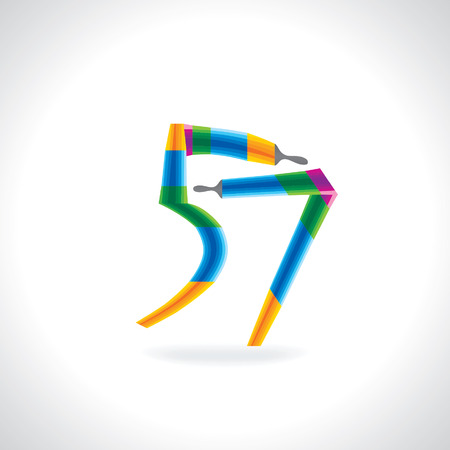 57: numeric number of 57 created by painting brush Illustration