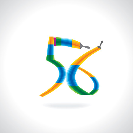 numeric: numeric number of 56 created by painting brush