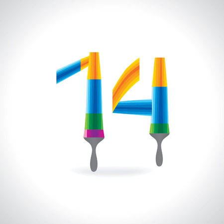numerical value: numeric number of 14 created by painting brush