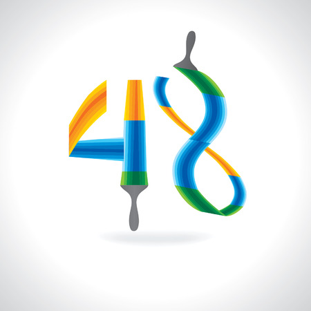 48: numeric number of 48 created by painting brush