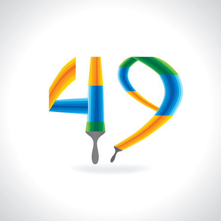 painting brush: numeric number of 49 created by painting brush