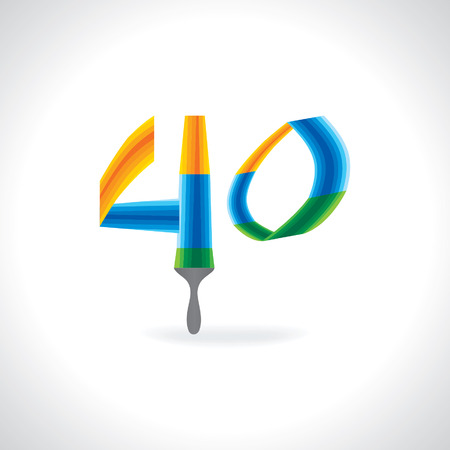 numeric: numeric number of 40 created by painting brush