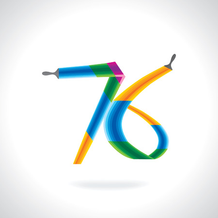 painting brush: numeric number of 76 created by painting brush