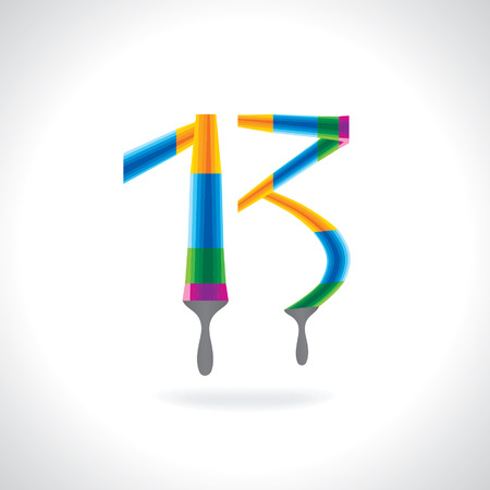 number 13: numeric number of 13 created by painting brush