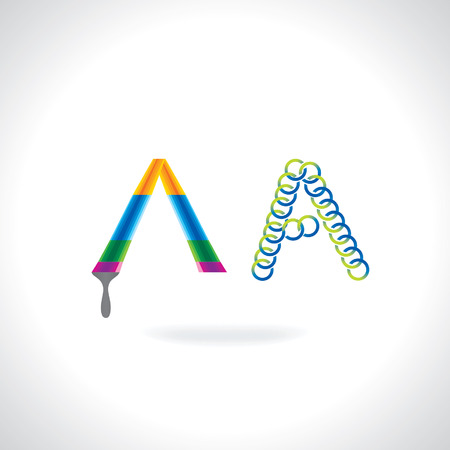 painting brush: alphabet A created by painting brush and circles