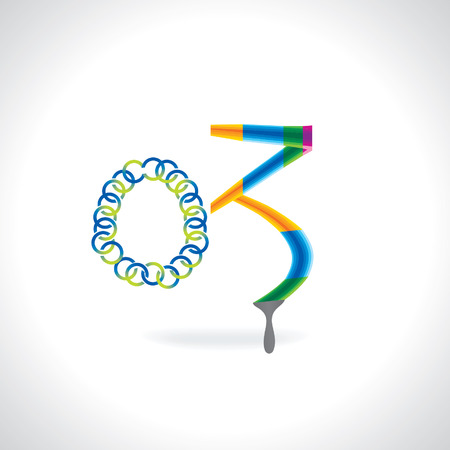 numerical value: number 03 created by painting brush and blue green circles Illustration