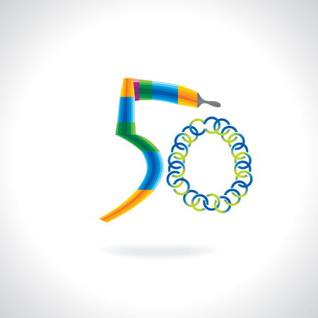 number 50: number 50 created by painting brush and blue green circles Illustration