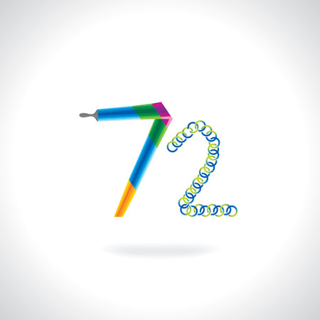 number 72 created by painting brush and blue green circles Vector