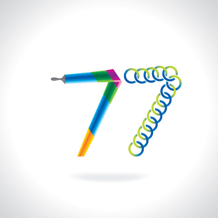 painting brush: number 77 created by painting brush and blue green circles Illustration