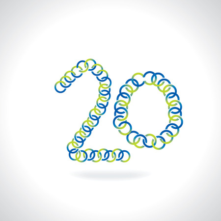 numerical value: number 20 created by blue green circles