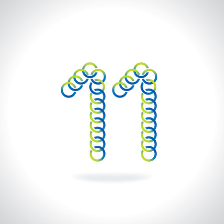 number 11: number 11 created by blue green circles