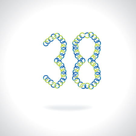 numerical value: number 38 created by blue green circles