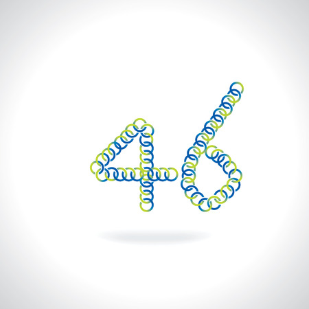 numerical value: number 46 created by blue green circles Illustration