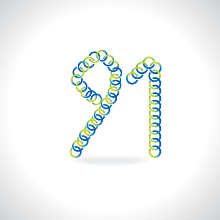 numerical value: number 91 created by blue green circles