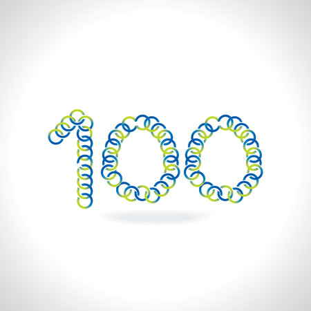 numerical value: number 100 created by blue green circles