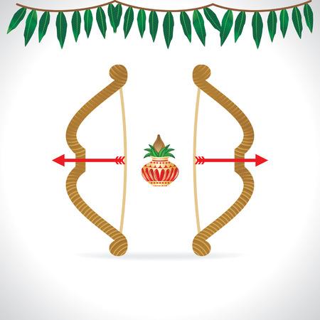 ramayana: creative festival illustration of bow and arrow