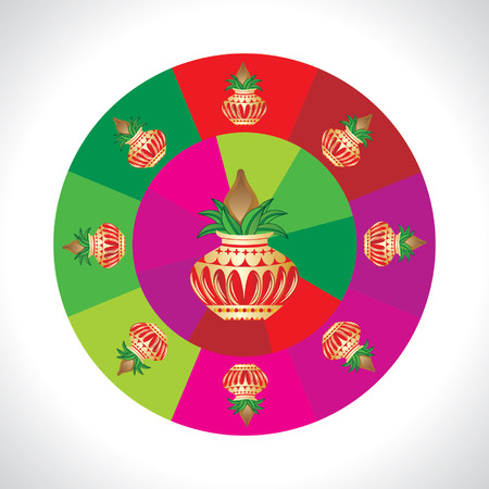 the ramayana: pinnacle round of over colorful wheel Illustration