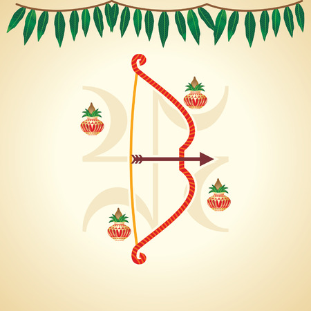 ramayan: creative festival illustration of bow and arrow