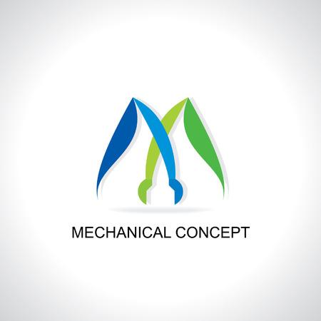 mechanical logo concept blue green Vector