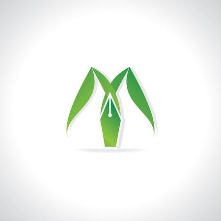 creative logo concept with pen nib Vector