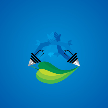 objects with clipping paths: creative fish over blue background with green leaf