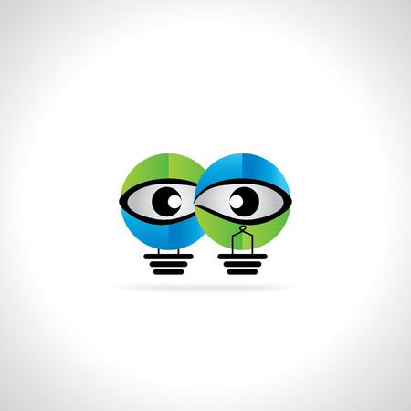 creative blue green bulb vision idea concept Vector